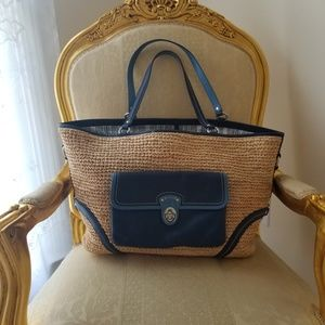 Coach  Beach Straw Leather Pocket Tote Bag.